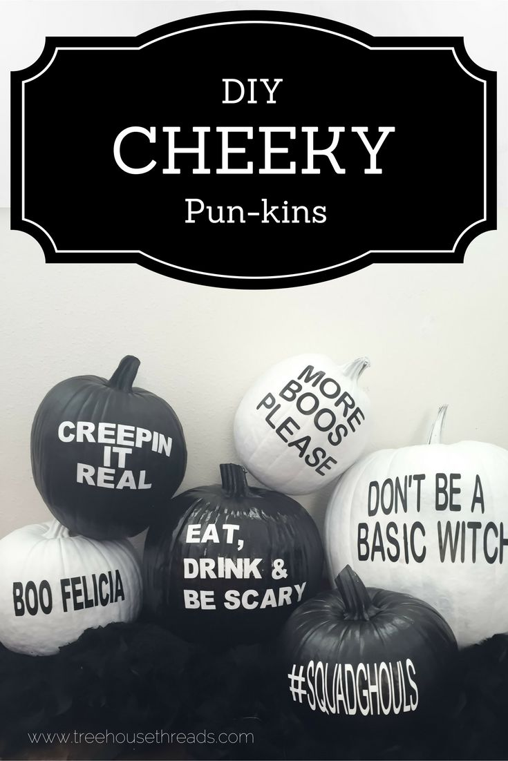 Easy DIY painted pumpkins with funny puns. A great monochrome addition to Halloween decor.