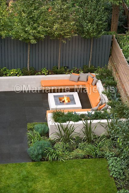 Chill Out Garden | Contemporary seating area with firepit | Charlotte Rowe Garden Design