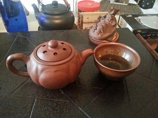 #purple  #clay  #chinese  #tea  #pot .  #lotus  design. Old  around  1960s  or  1970s . And  #temoku  #tea bowl .