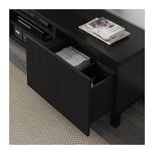 BESTÅ TV bench with drawers - Lappviken black-brown, drawer runner, soft-closing - IKEA