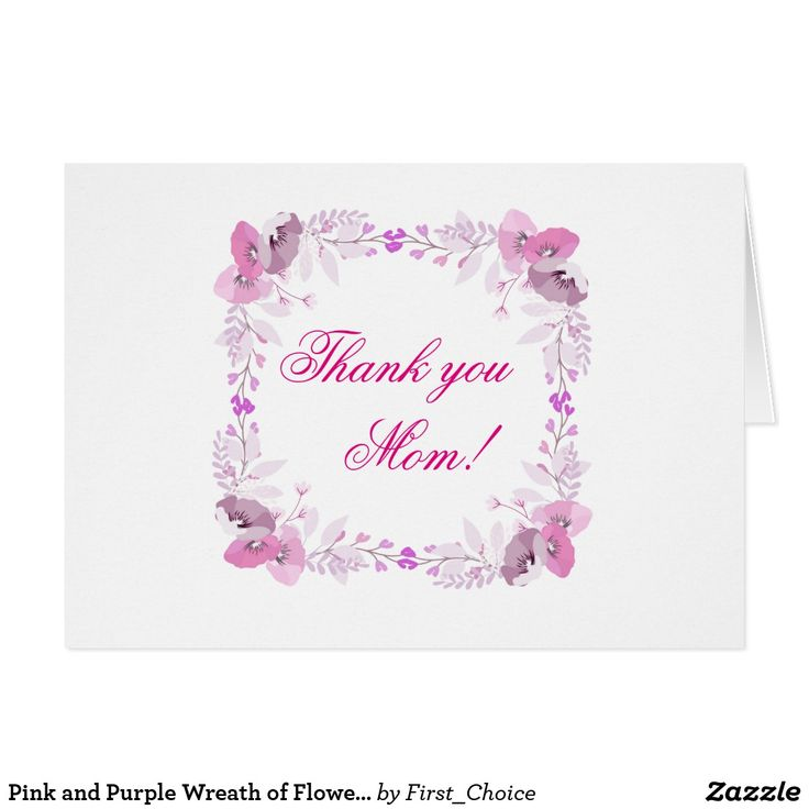 Pink and Purple Wreath of Flowers Card