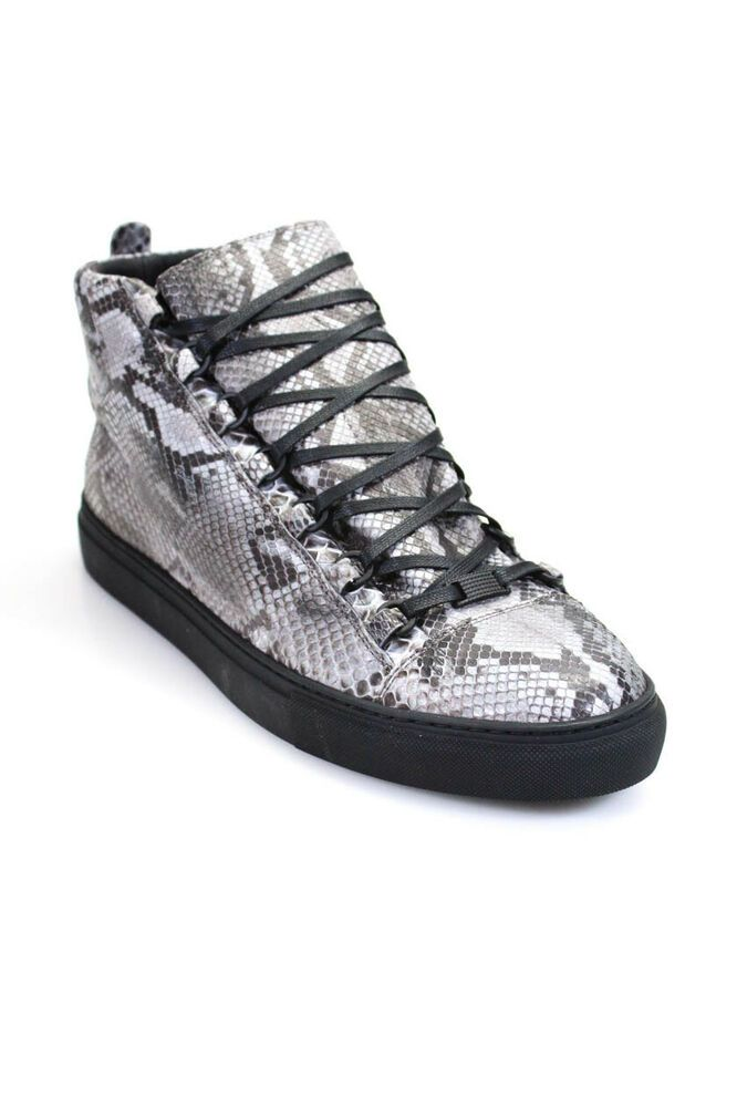 53289c4cd eBay  Sponsored Balenciaga Mens High Top Sneakers Gray Python Size European  47