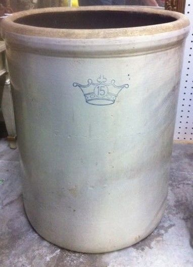 Rare 15 Gallon Blue Crown Robinson Ransbottom Crock Great