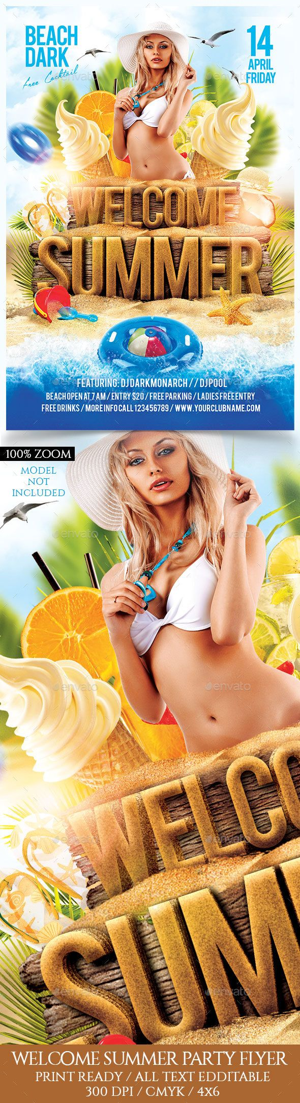 Welcome Summer Party Flyer Template PSD. Download here: http://graphicriver.net/item/welcome-summer-party-flyer-template/16435421?ref=ksioks