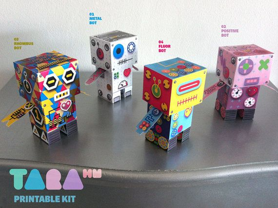 DIY Set of 4 Printable Cutout Robots, TaraBots, DIY Paper Toy, Printable Robots, Cut and Glue Robots, Educational Toy, Didactic, Art Toy via Etsy