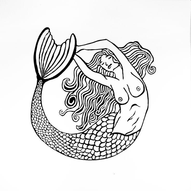 Mermaid: lino print