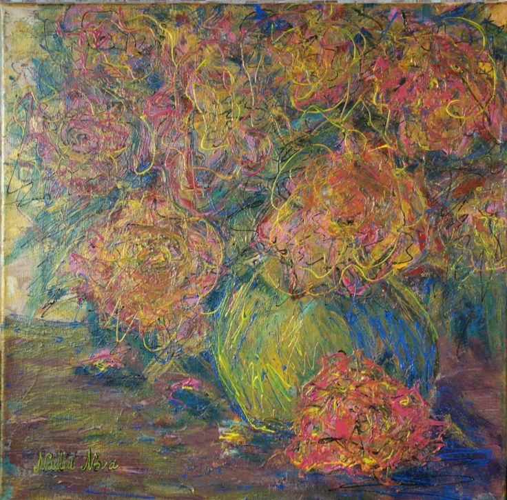 «Букет цветов в вазе»- абстракция акрилом 40/40 см 8000р — Nadia Nova Art