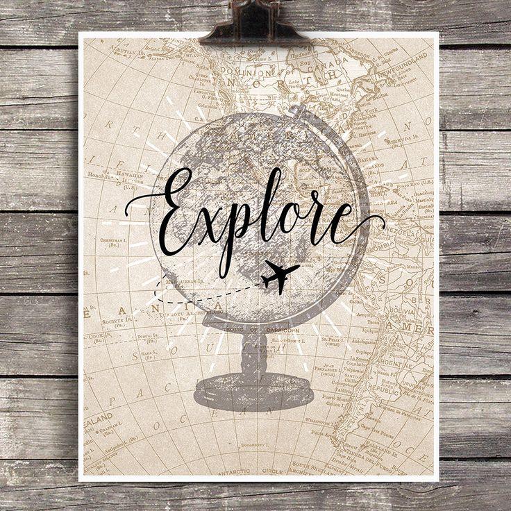 Vintage Globe Explore Print Vintage Airplane by AddisonandLake