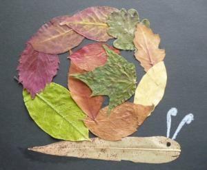 Snail- fall leaf art