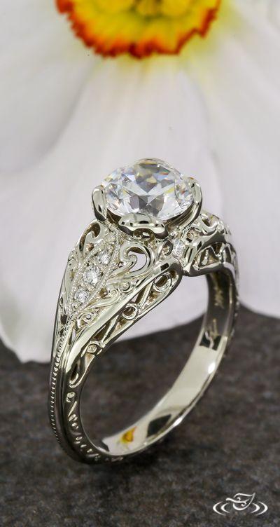 Pierced Vintage Curl  Pierced Vintage Curl & Wave Style Engagement Ring. Green Lake Jewelry 101886