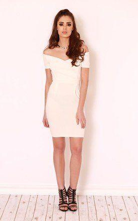 Missy White Bardot Dress - SilkFred
