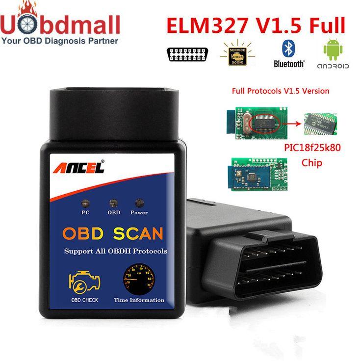 Alta Calidad FOTO 25K80 Ancel OBD Herramienta De Diagnóstico Del Coche ELM327 V1.5 Adaptador Bluetooth ELM327 V1.5 Lector de Código DEL OLMO 327