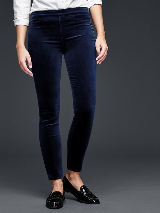 Velvet side-zip pull-on leggings Product Image