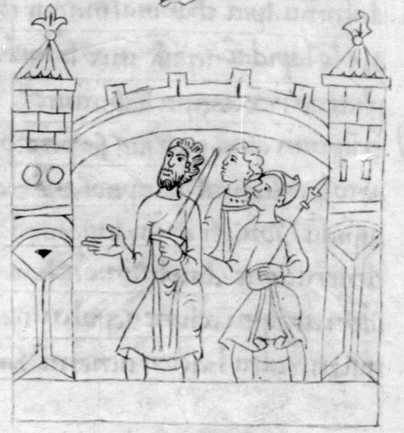 Biblia Sancti Petri Rodensis or Roda Bible. Spain, 11th century. Detail of Jerusalem city defenders.