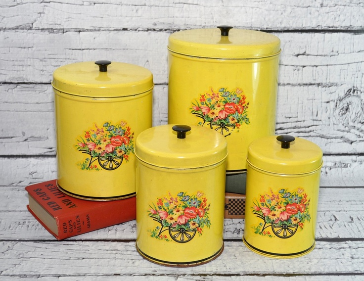 Darling Vintage Kitchen Tin Canisters Set Of 4   Yellow With Floral Details
