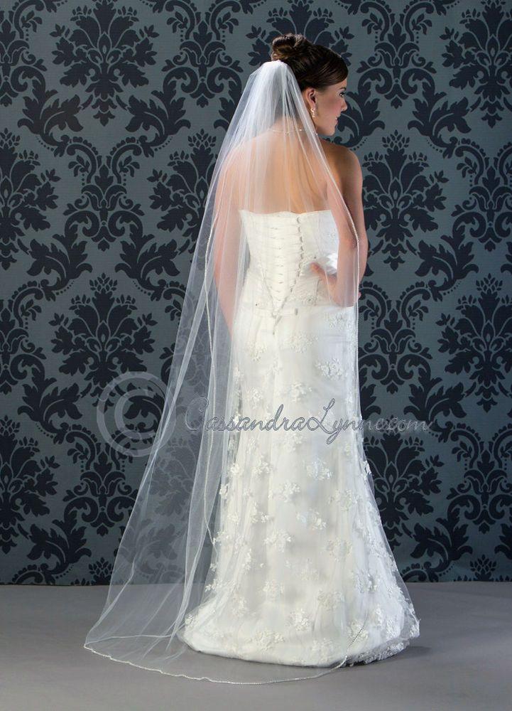 Custom 1T Rhinestone Edge Wedding Veil You Choose Length & Color Made in USA