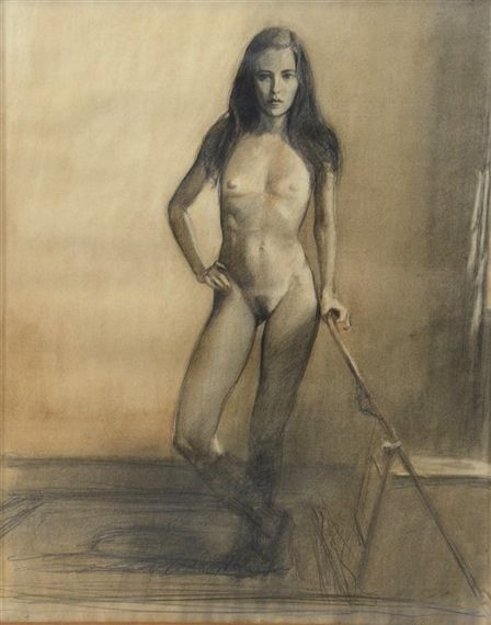 Artwork by Bo Bartlett, Life Drawing of the Artist's Wife — Melanie, Made of charcoal, pencil, and white conte on paper