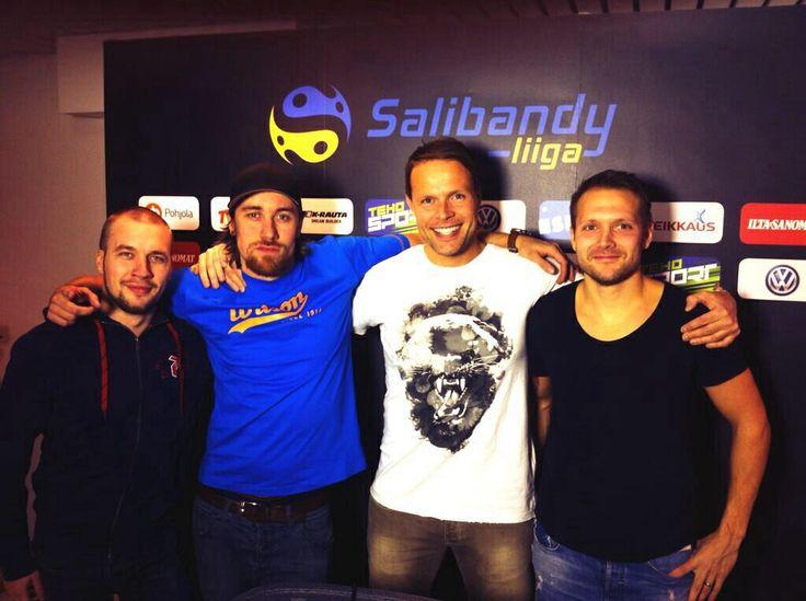 Veikkaus TV Floorball studio team: Miha Reponen, Ylijohtava, Juhani Henriksson and Santtu Manner. #salibandy #floorball #unihockey