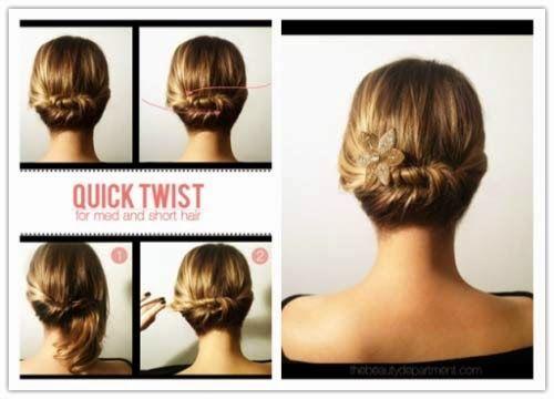 penteados simples para cabelos curtos para festa ou balada