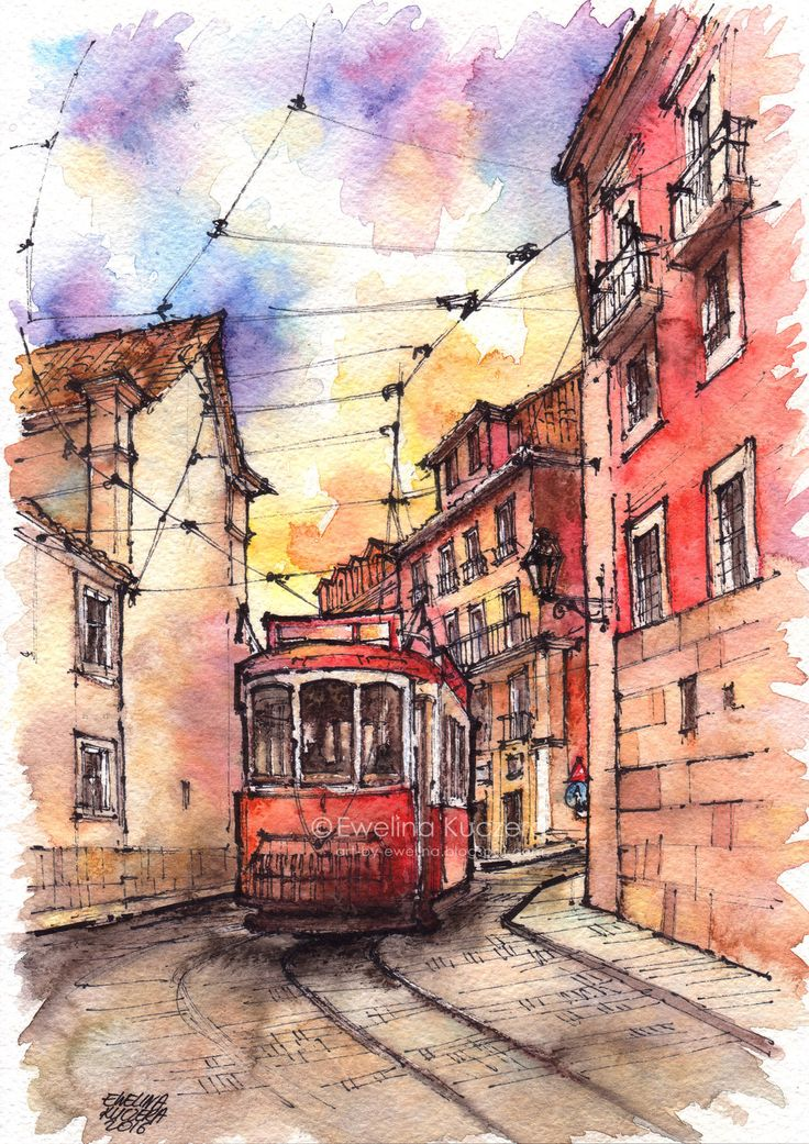 Lisbon, A4.  #fineliners #watercolor #watercolorpencils #fabercastell #ewelinakuczera #art #painting #tram #redtram #street #buildings #architecture #summer #sightseeing #lisbon #lisboa #portugal #illustration #albrechtdurerpencils