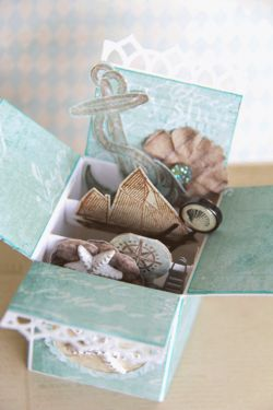 This is such a pretty little trinket box!! Love @Prima Marketing 's new Seashore collection! Lovely color palette and great embellishments!! Check it out!