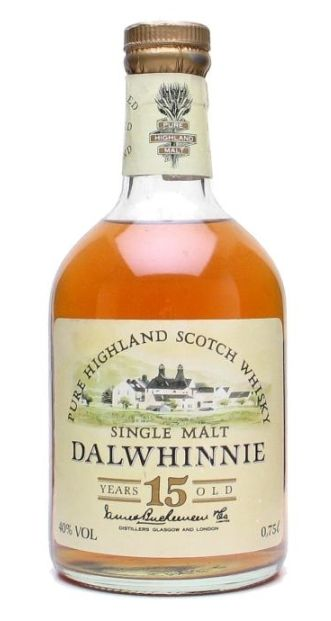 Official bottling of 15 yo Dalwhinnie Single Malt whisky from 80's.
