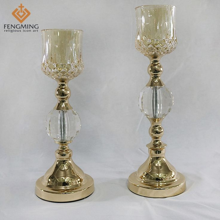 2pcs/ set Wholesale metal plating process crystal candlestick home hotel restaurant fine candle stand European Classical Art