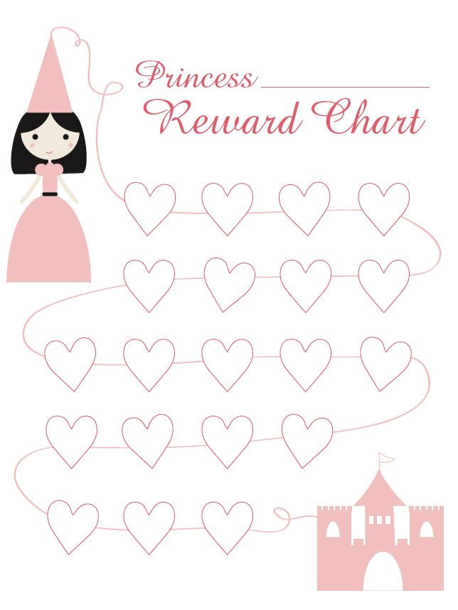 Princess Reward Chart, I don't like the weeks, cause then they see all the days they fail, rather than a path to success http://www.mamatoga.com/wp-content/uploads/2012/01/Princess-Reward-Chart_1.png