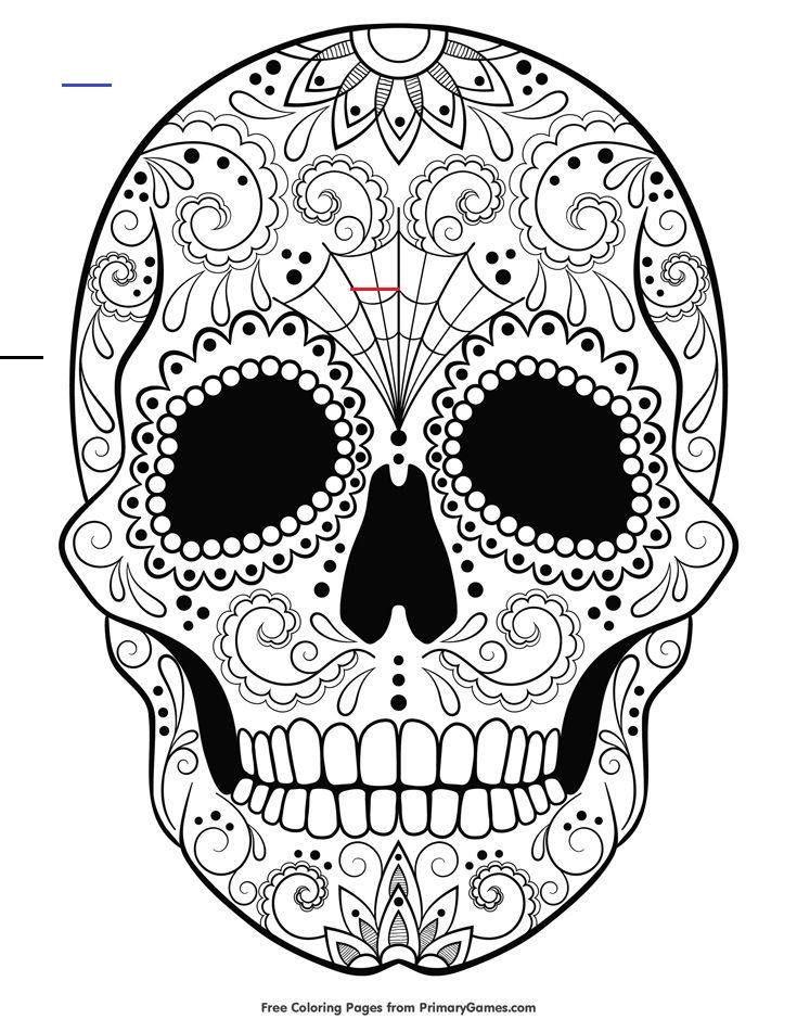 Sugar Skull Coloring Page Free Printable Ebook Halloweencoloringpages Free Sugar Skull Coloring In 2020 Malvorlagen Halloween Kurbis Malvorlage Mandala Ausmalen