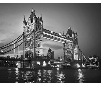 Londen Tower Bridge behang zwart/wit