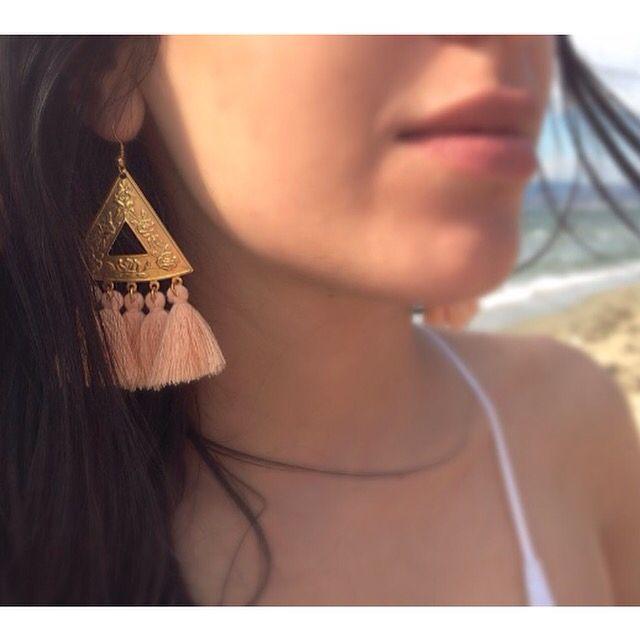 Bohemian look, handmade earrings by ATELIA with pink tassels.
