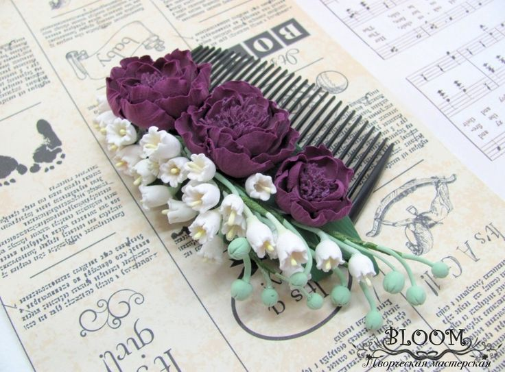 Flower Hair Comb, Comb, hair comb, hair accessories, flovers, accessories, claycraft by deco, clay, polymer clay by MarinaShestorkina on Etsy