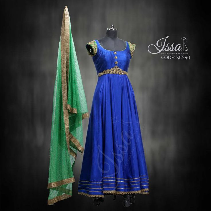 SC590: Royal Blue and green Anarkali!  To order please call/WhatsApp 9949944178 or mail us @ issadesignerstudio@gmail.com 18 May 2016