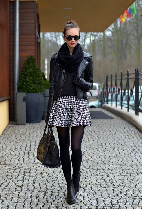 houndstooth skirt, black top, black leather jacket, black scarf, black  tights hose and shoes or boots