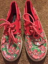 Floral Sperry Top-Siders Pink Sequin Boat Shoes Size 2.0