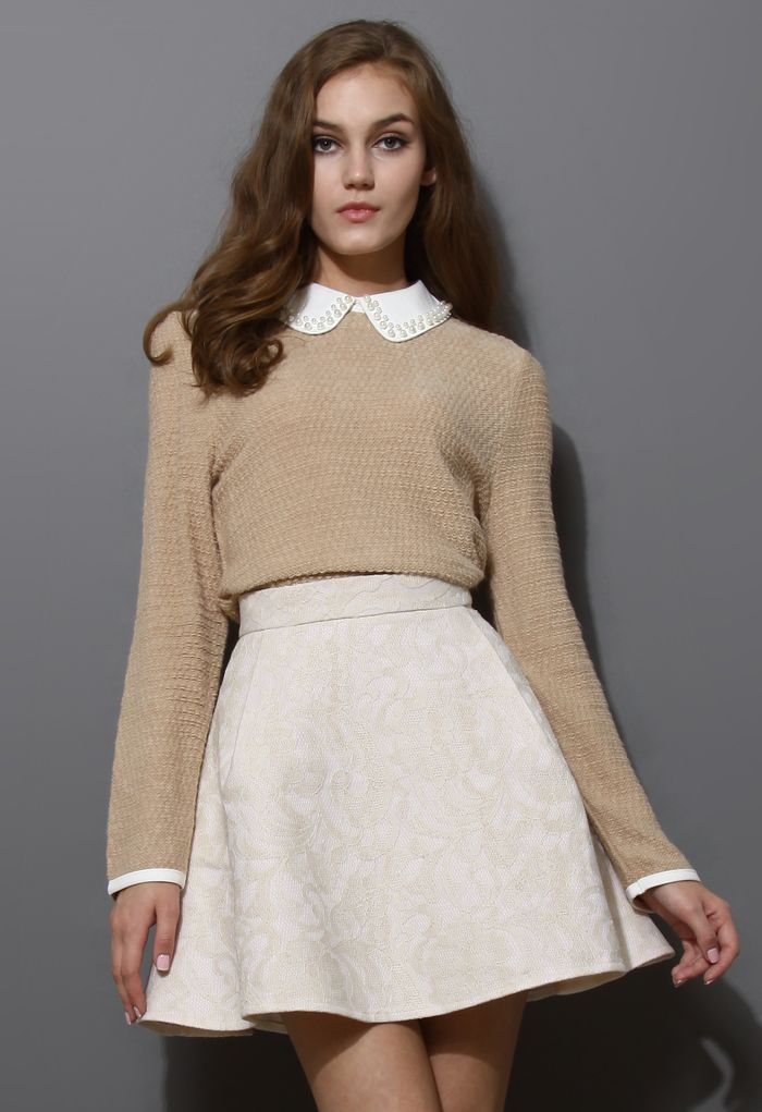 Off-White Jacquard Skater Skirt - Retro, Indie and Unique Fashion
