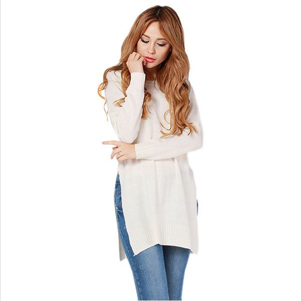 Find More Pullovers Information about Fashion Lady Knitwear Women Casual Sweater New Knitted Wear Split Pullover Sweater White Gray S M L XL,High Quality ladies knitwear,China knit wear Suppliers, Cheap knitwear women from Sally's Fashion Store on Aliexpress.com