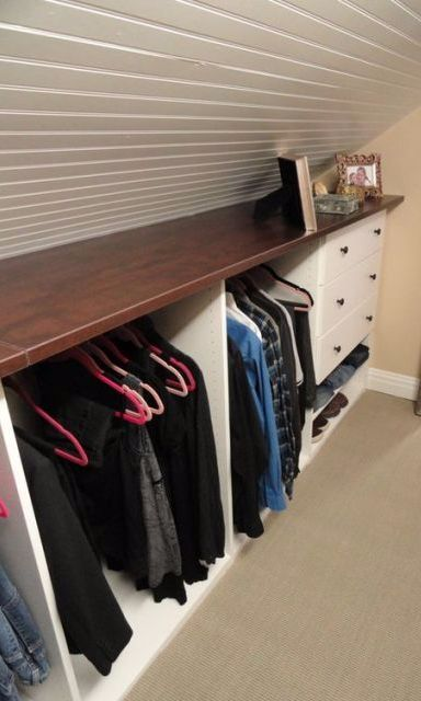 If you dream of having a walk-in closet, we have good news: Your unused attic is just begging for some savvy built-ins to make getting dressed in the morning way more glamorous. #DIYAtticRemodel