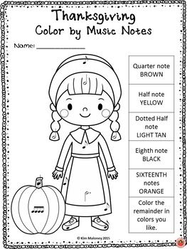 Color By Music Symbol Thanksgiving THANKSGIVING MUSIC SYMBOL GLYPHS A Set Of 30