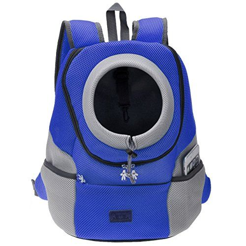 CozyCabin Latest Style Comfortable Dog Cat Pet Carrier Backpack Travel Carrier Bag Front for Small dogs Puppy Carrier Bike Hiking Outdoor (L Blue)