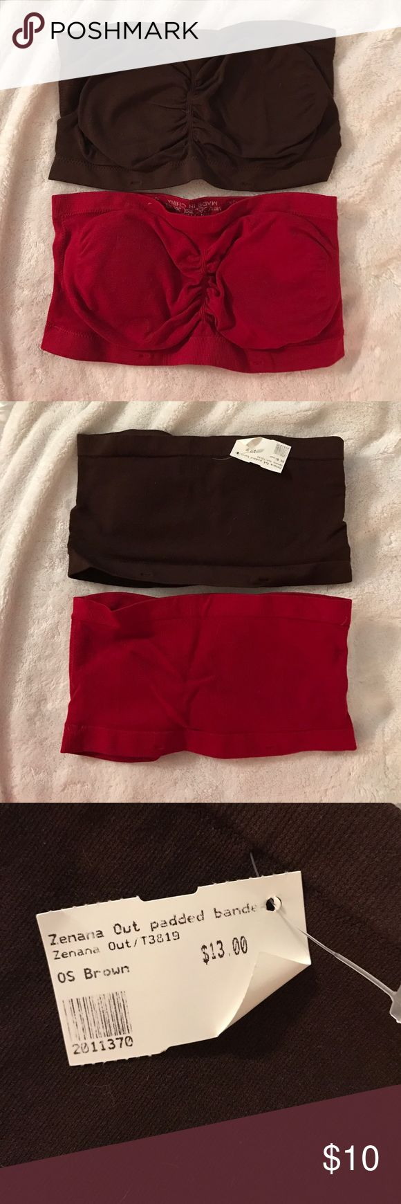 Bandeau bra set of 2 Brown is new with tags and the red is new without tags. Both have padding that is removable Intimates & Sleepwear Bandeaus