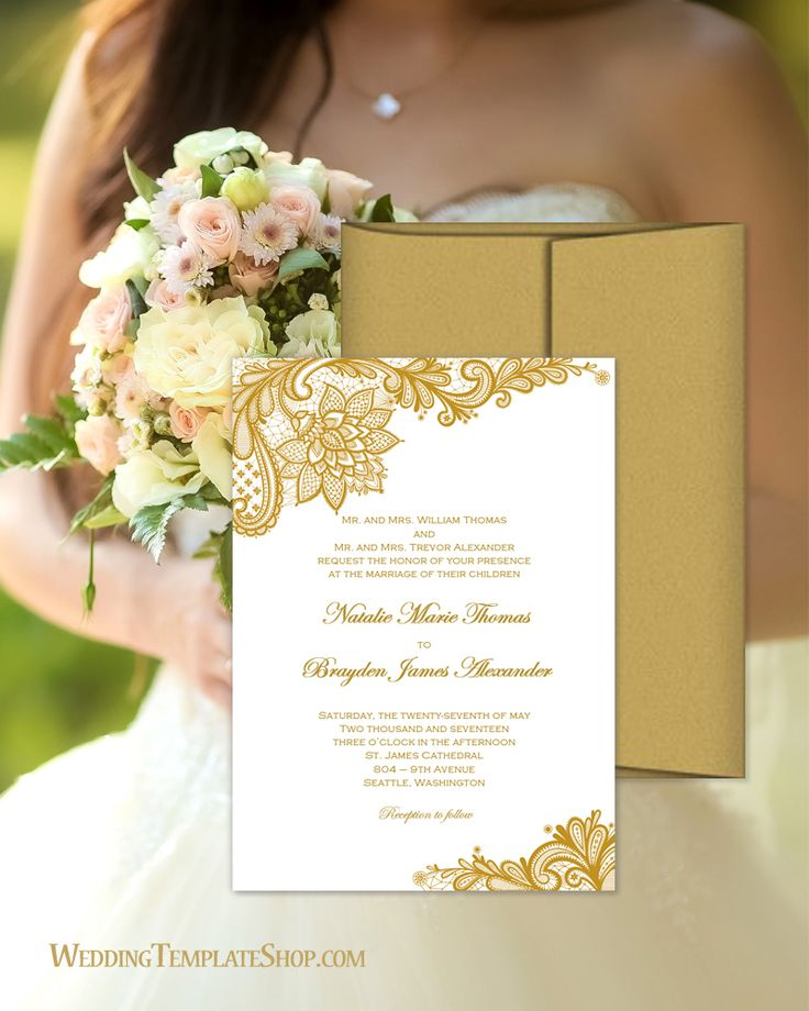 make your own wedding invitations online free%0A Gold Vintage Lace Wedding Invitations DIY Printable Templates