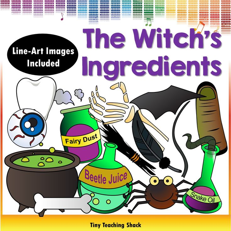 the witch's ingredients clipart: cauldron, eyeball, beetle juice, spider, snake oil, crow's feather, finger, hair, bat wing, rat tail, fairy dust, tooth, bone