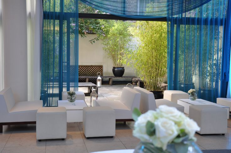 Gorgeous Blue Draping and our white sofas, look stunning at this Launch Event for Lancome