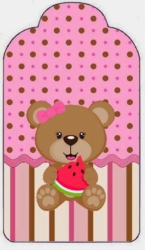Cute Bear Eating Watermelon Free Printable Kit
