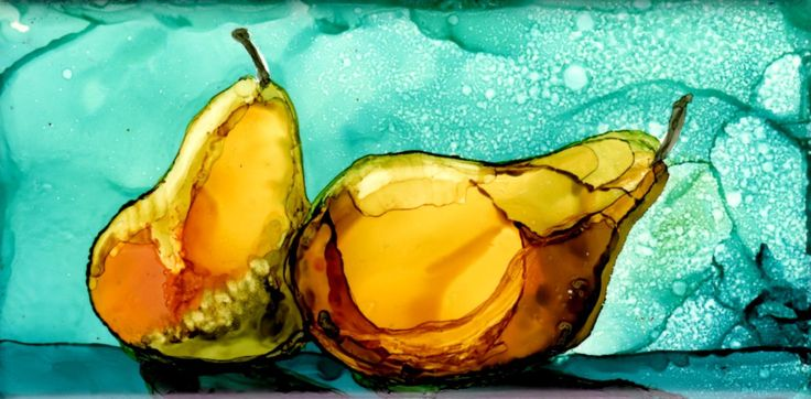 "Pears on 3x6"" ceramic tile by Jewel Buhay  [alcohol ink on tile?]  0c2766935de147701fbd9ccea192dd05.jpg (1756×866)"