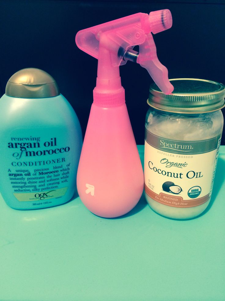 Best detangling  and conditioning spritz: spectrum organic coconut oil, organix argan oil conditioner, and water. Use as detangler or to co-wash.
