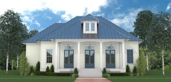 Front and rear porches give a tasteful Southern charm to this one-story home design. Inside, the island kitchen is open to the family room, dining room and foyer.
