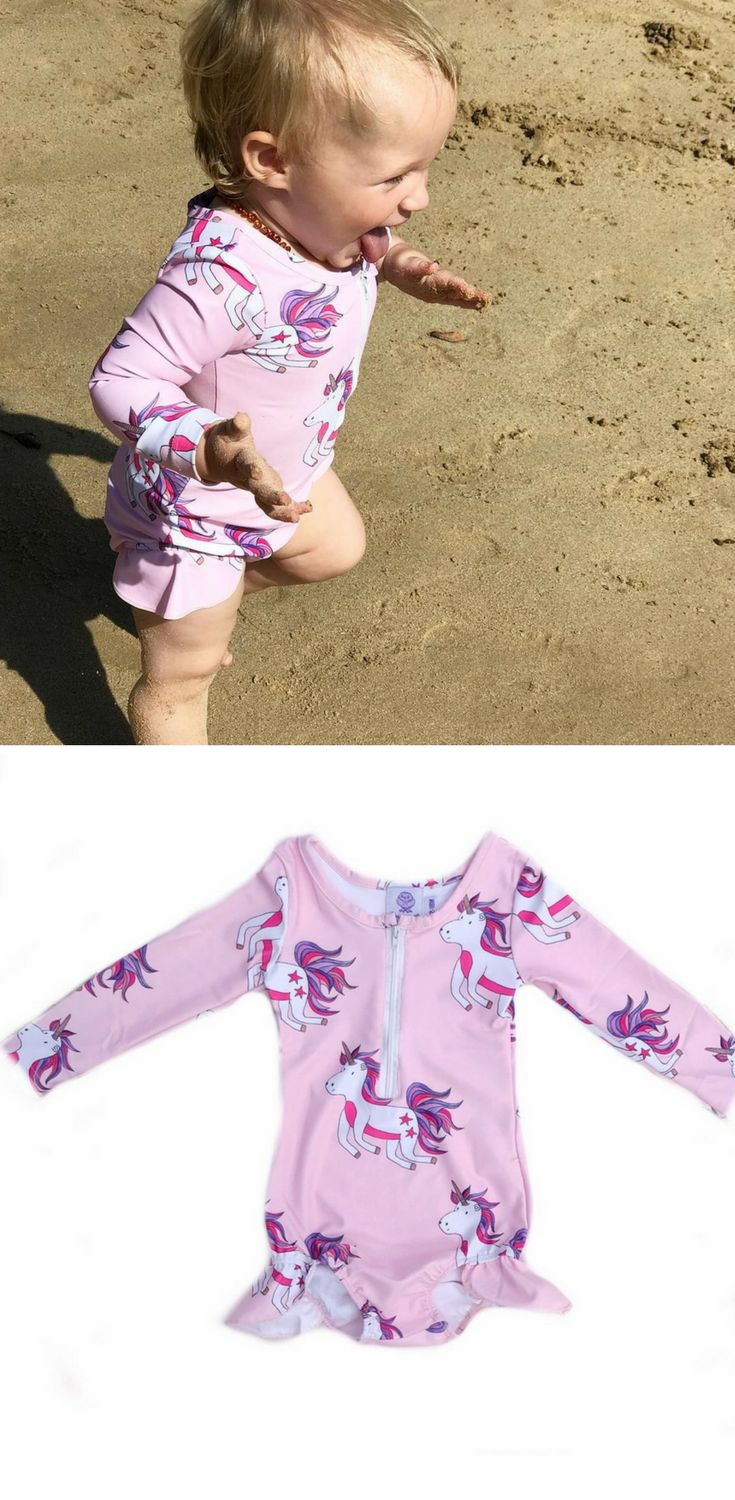FREE SHIPPING OVER $60! Hand designed #kidswear , these long-sleeved swimmers with hand-designed unicorn illustrations are perfect for running around the beach in summer. Swimwear for the funky baby, kid or toddler! #swimwear