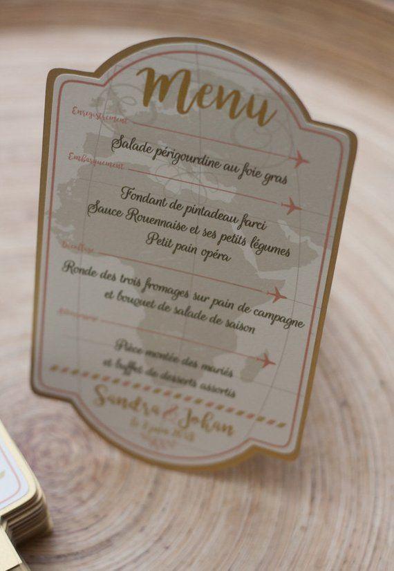 """Vintage Travel"", ivory and gold wedding dinner menu  #dinner #ivory #travel #vintage #wedding"